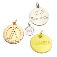 Design made small round shape logo custom metal charm pendant hang jewelry tags for Bracelet