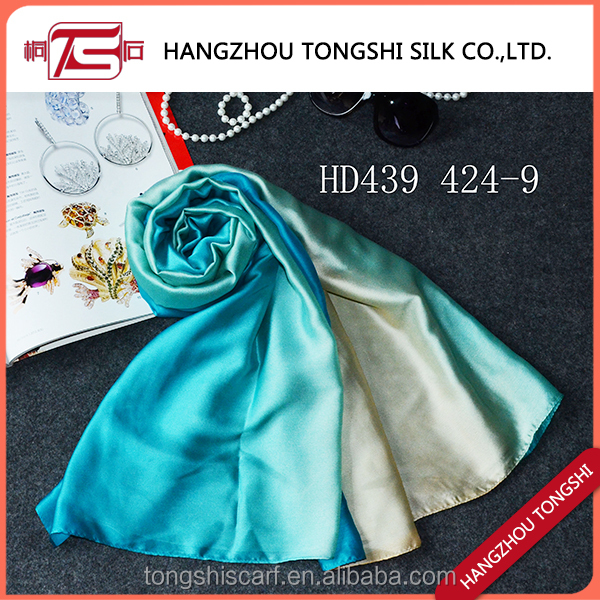 Polyester printed scarf women gradient color scarf made in China