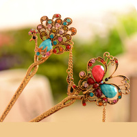 Fashion Exquisite Crystal Rhinestone Peacock Butterfly Flower Headwear Hair Sticks Hair Jewelry for Women Girls Hair Accessories