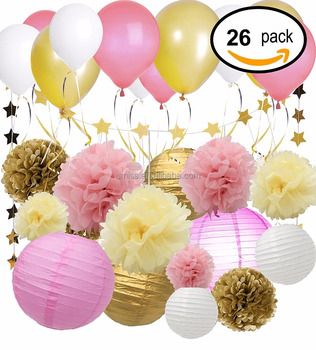 26 Pcs Tissue Paper Pom Poms Flowers Paper Lanterns And Star Paper