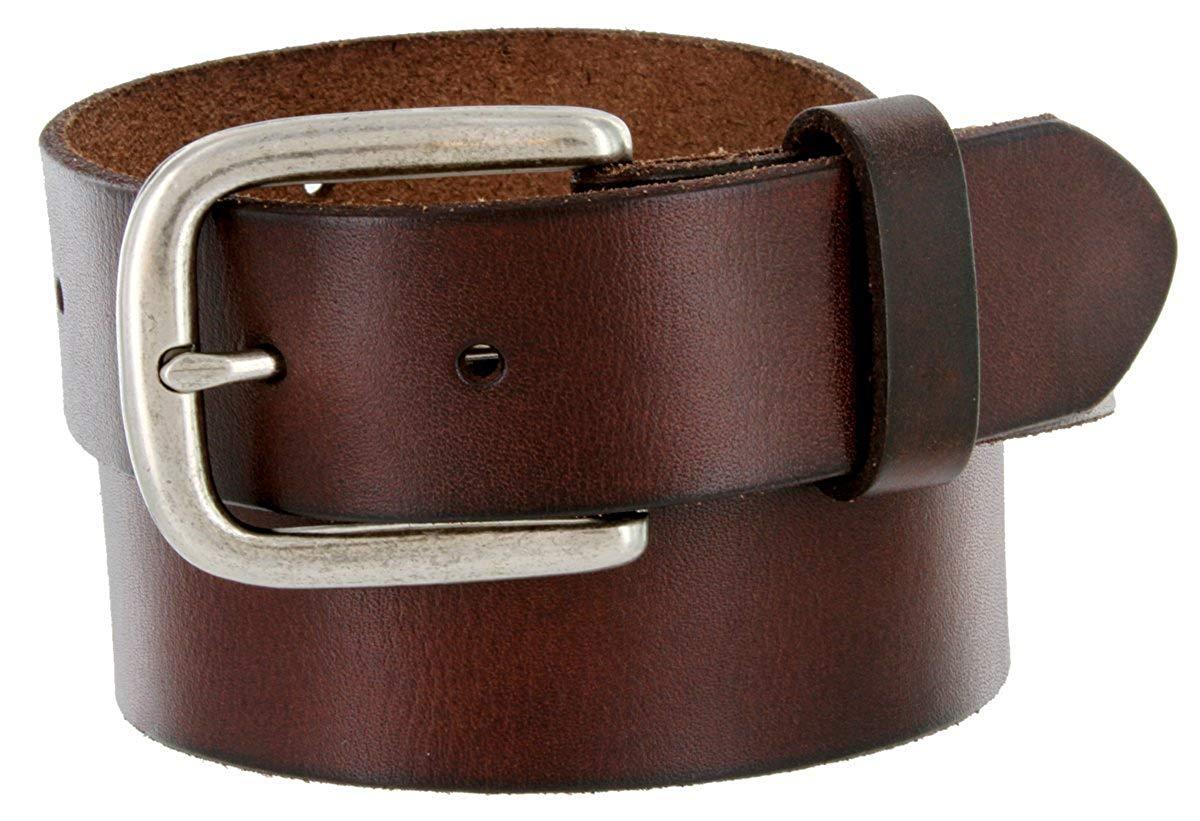 """Men's Full Grain Leather Casual Jean Belt 1-1/2"""" (38mm) Nickel Buckle"""