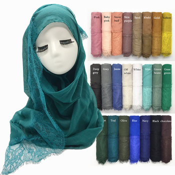 Wholesale Custom Print Latest Women Solid 35Colors High Quality Plain Lace Cotton Long Muslim Hijabs Head Scarf