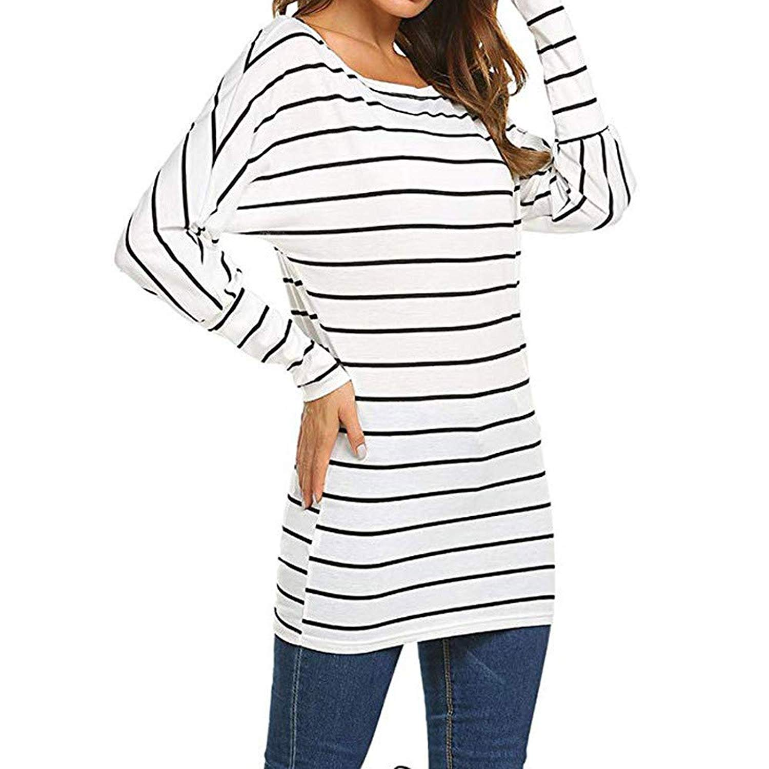 2bea4d2cb0 Women s Autumn Striped Cold Shouder Shirt Long Sleeve Casual T