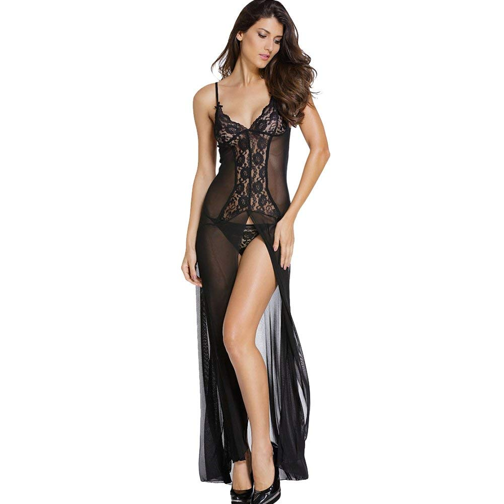 e5810b81f6 Get Quotations · JAJAFOOK Women s Sexy Chiffon Babydoll Nightwear Long Gown  Lingerie With Thong