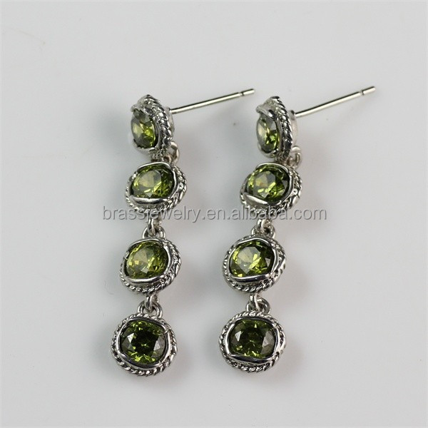 2015 Latest Fashion New Design Silver Plated Green Gemstone Dangle Earrings