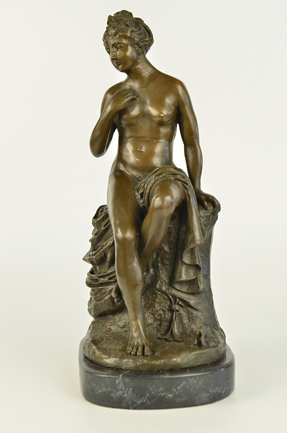 ...Handmade...European Bronze Sculpture Signed Nude Erotic Model Portrait Marble Base (1X-DS-033) Bronze Sculpture Statues Figurine Nude Office & Home Décor Collectibles Sale Deal Gifts