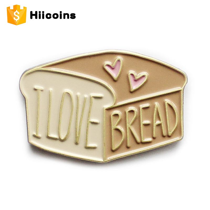Love Breakfast Bread Soft Enamel Lapel Pin Custom Metal Badge Beauty