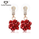 High Quality Wholesale Vintage Fashion Rhinestone Princess Red Rose Earring.