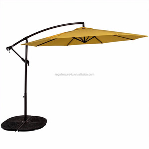 Adjustable Offset Alu./Steel Garden Banana Parasol Hanging Patio Umbrella with Cross Base Solar LED Lights