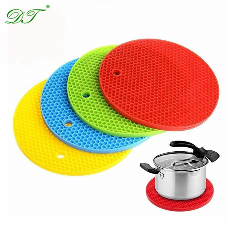 BPA Free Silicone Trivet Mat Circle Functional Cooking Potholders Flexible Hot Pads Silicone Trivet Mat