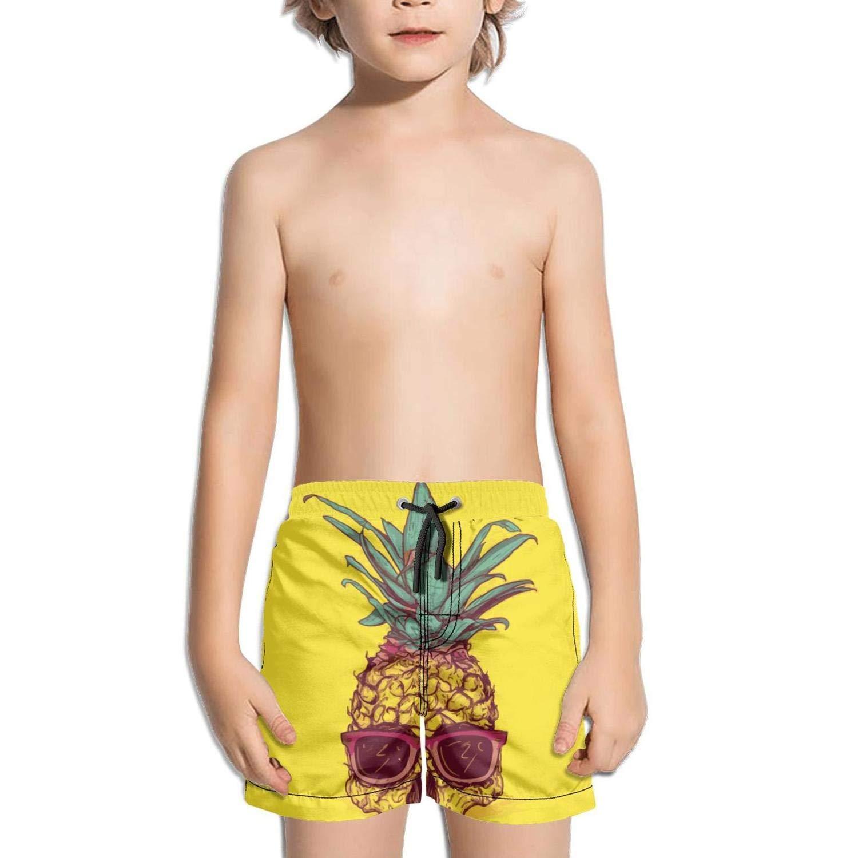 b67245c5cf Get Quotations · FullBo Pineapple Skull in Yellow Little Boy's Short Swim  Trunks Quick Dry Beach Shorts