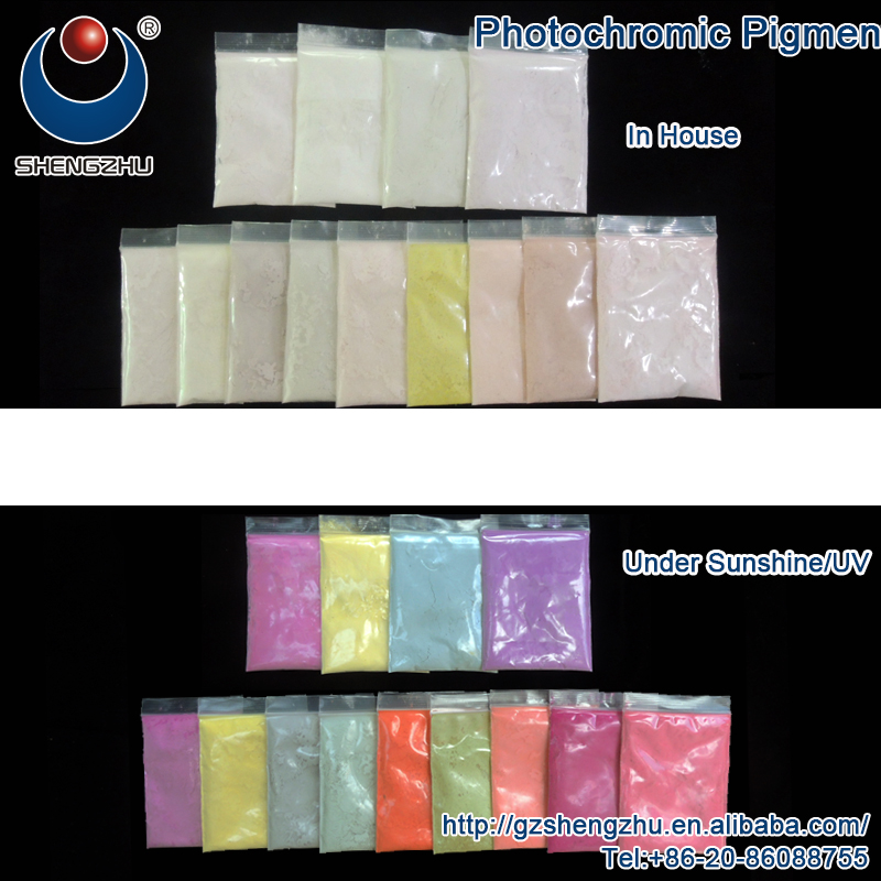 Photochromic paint powder that changes colour by sun or uv light