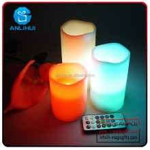 Pillar white electronic wax scented remote control candle