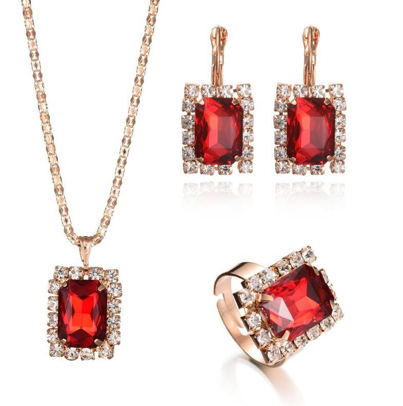 New models girl earring ring jewelry sets turkish crystal gold jewellery
