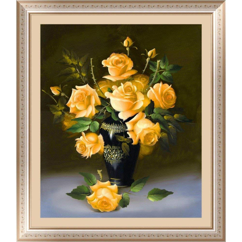Fairylove 16×16 inch Diamond Painting Kit Rose Paint with Diamonds Dotz Kit Cross Stitch Kits Crystal Drill Kit,Yellow Rose