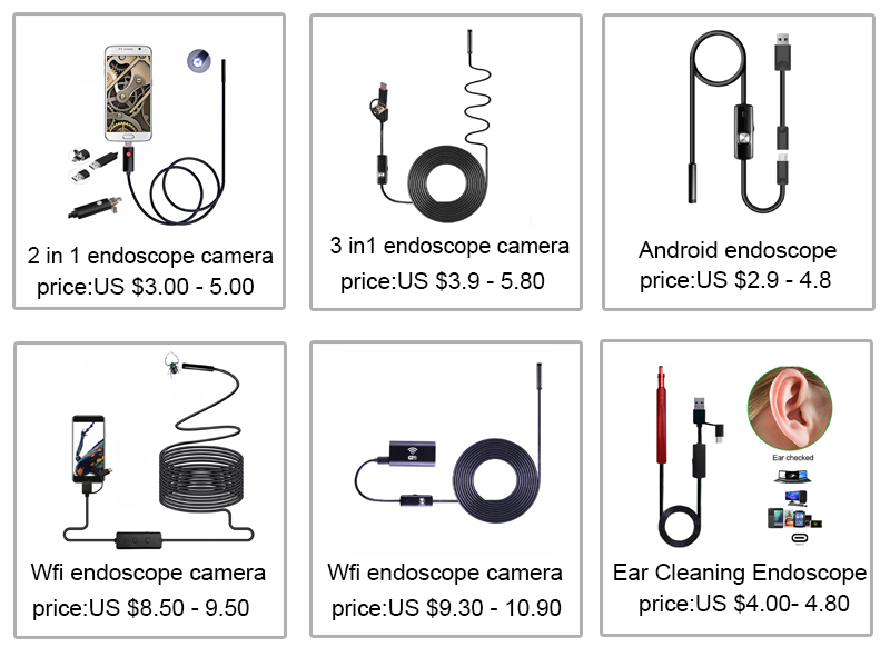 3in1 Endoscope 7mm Lens 6pcs adjustable LED lights 10M Borescope Tpye-c Android PC USB Inspection Endoscope Camera