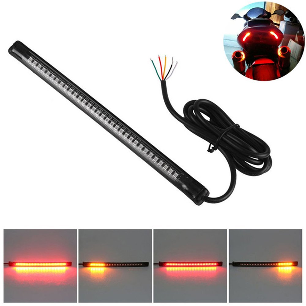 Cheap Led Motorcycle Brake Lights Find Light Source Assembly For Tail On Wiring Get Quotations Cogeek Universal Flexible Turn Signal Strip 32 Leds License Plate