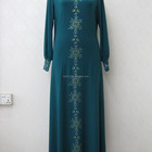 Muslim Robes Elegant Long Sleeved Cotton Green Stone Beads Morocco Islamic Women Robes