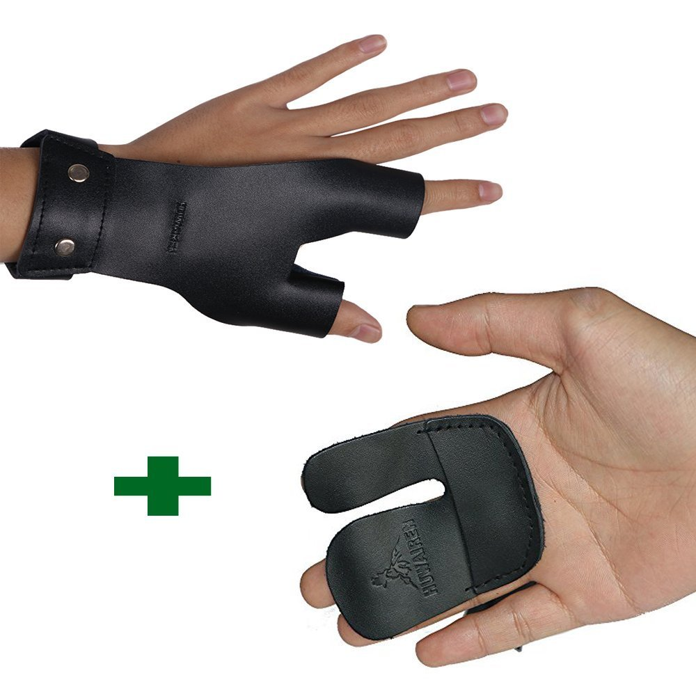 Toparchery Cow Leather Hand Guard for Left Hand and Finger Tab for Right Hand