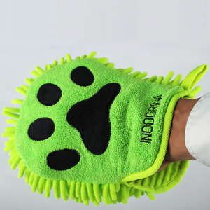 Super cute dog paw print design microfiber embroidery car wash cleaning gloves foam towel