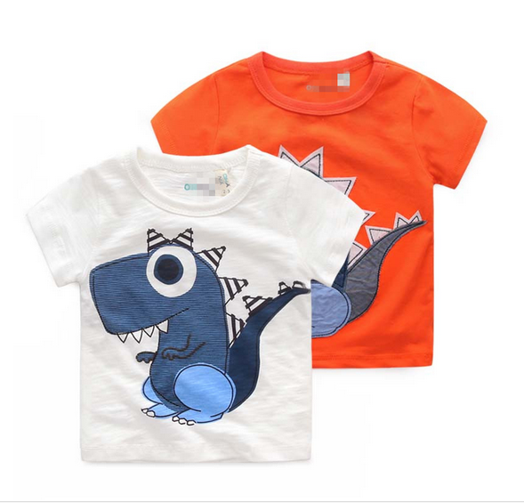 China Online Shopping Customized Babys Boys Cute Applique Printing 100% Cotton T-shirt