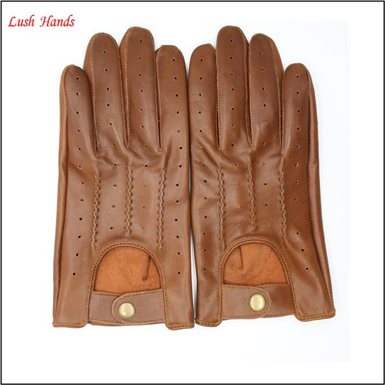 2017 men's fashion drving brown sheepskin leather gloves with Chinese manufactory price
