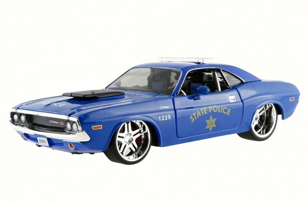1970 Dodge Challenger R/T Coupe State Police, Blue - Maisto 31129 - 1/24 Scale Diecast Model Toy Car