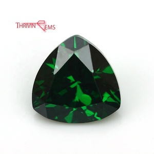 Synthetic Green Emerald Trillion Cut Rough CZ Stone