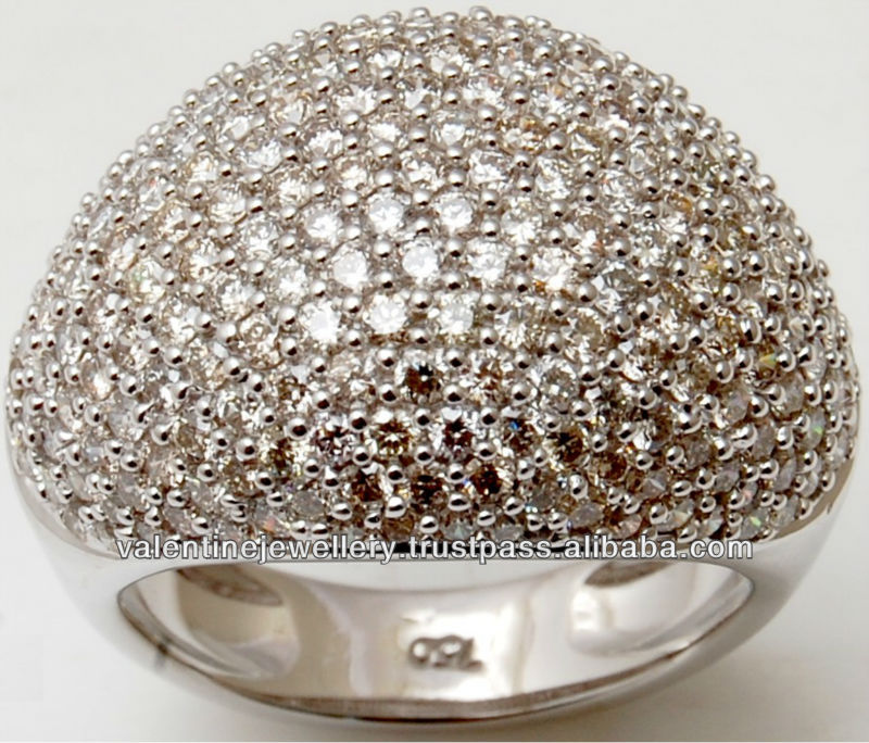 Rich Diamonds Heavy Design White Gold Ring Royal Gold Jewelry With