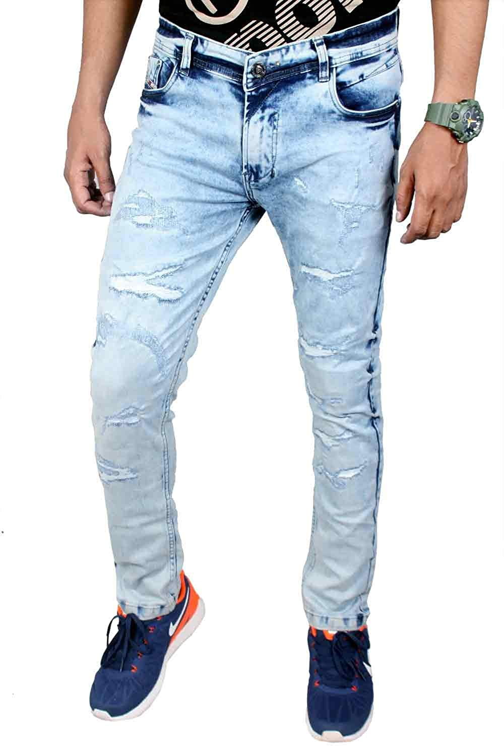 f2d60bee1f8 Get Quotations · Zohran Blue Perfume Wash Stretch Biker Cotton Jeans Pants  Made in India Sty-3BA