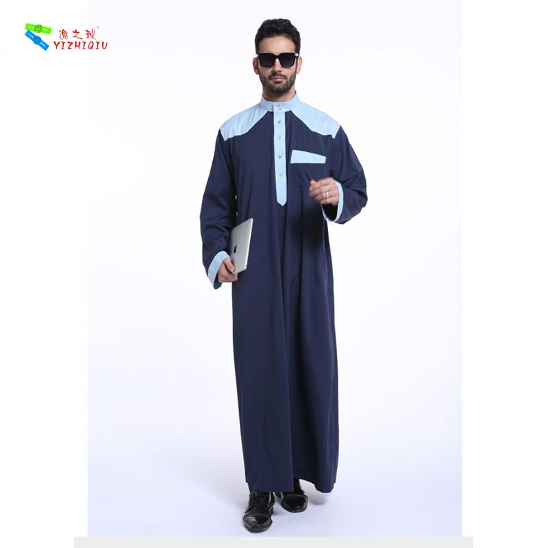 YIZHIQIU Color Matching Islamic Arabian Tunic Muslim Men Clothing
