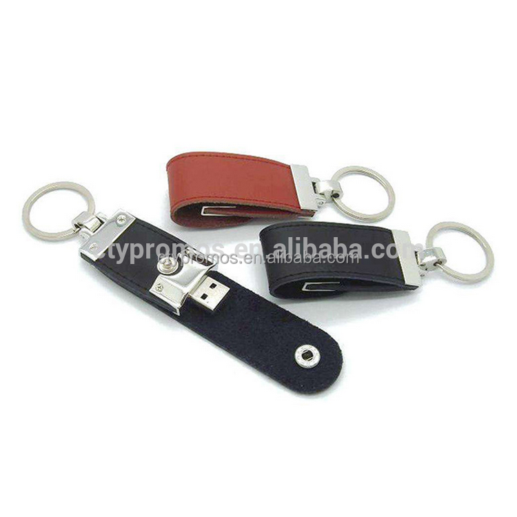 Leather keychain usb fash drive stick