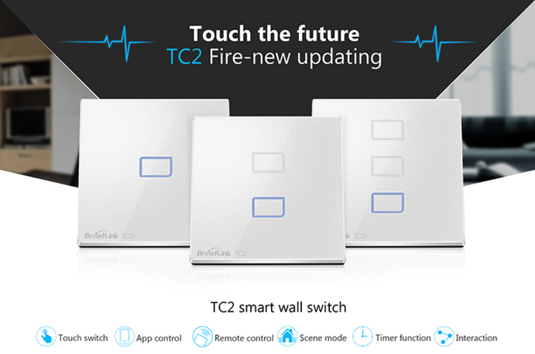 Broadlink Tc2 Wifi Smart Controlled Three Gang Three Way Wall Switch ...