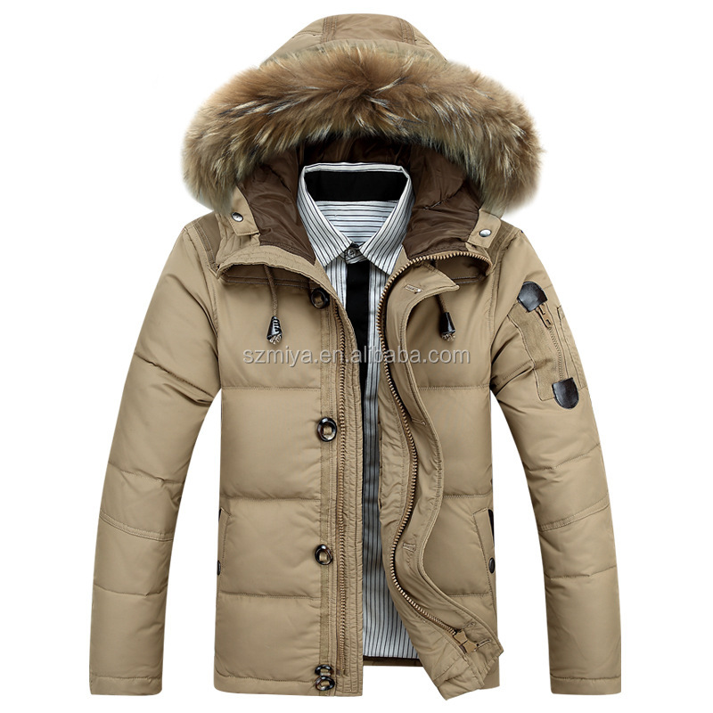 Sample available warm fur hooded white duck down winter windproof coat men down jacket