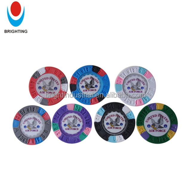 13.5g 3-Tone Pure Clay Poker Chip Met Custom Stickers