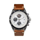 Mexda Brand Custom Trend Design Stainless Steel Case Italian Leather Strap Japan Chronograph Quartz Movement Men Wrist Watch