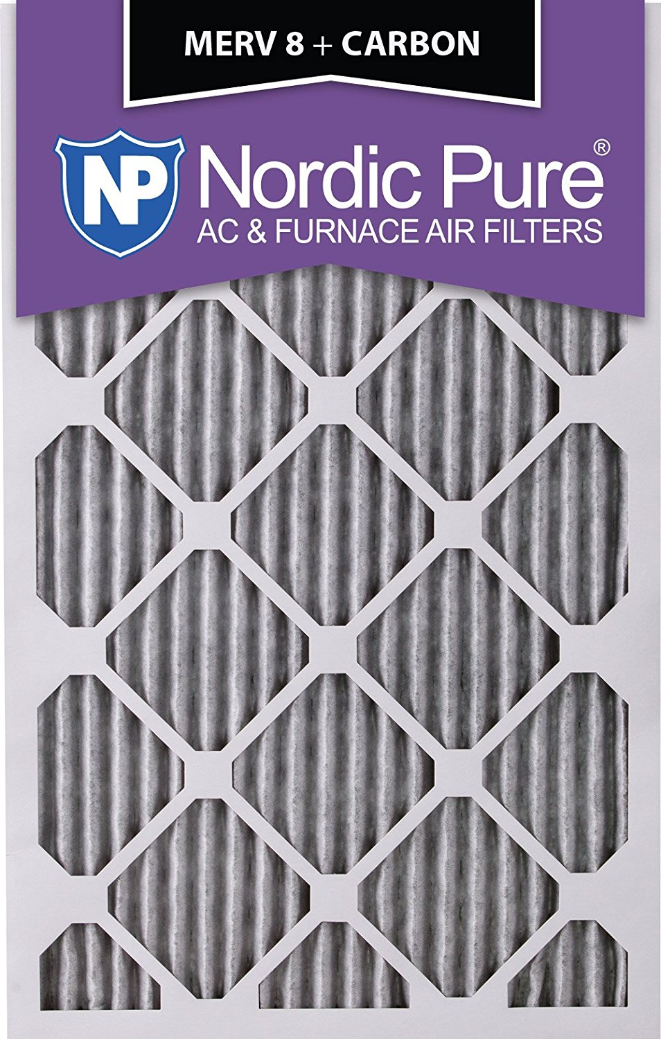 Nordic Pure 16x25x4 (3-5/8 Actual Depth) Pleated MERV 8 Plus Carbon AC Furnace Filters, Box of 6