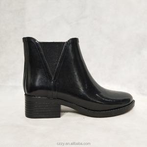 Low cut chelsea  short ankle high heel women rain boot rubber boots for women
