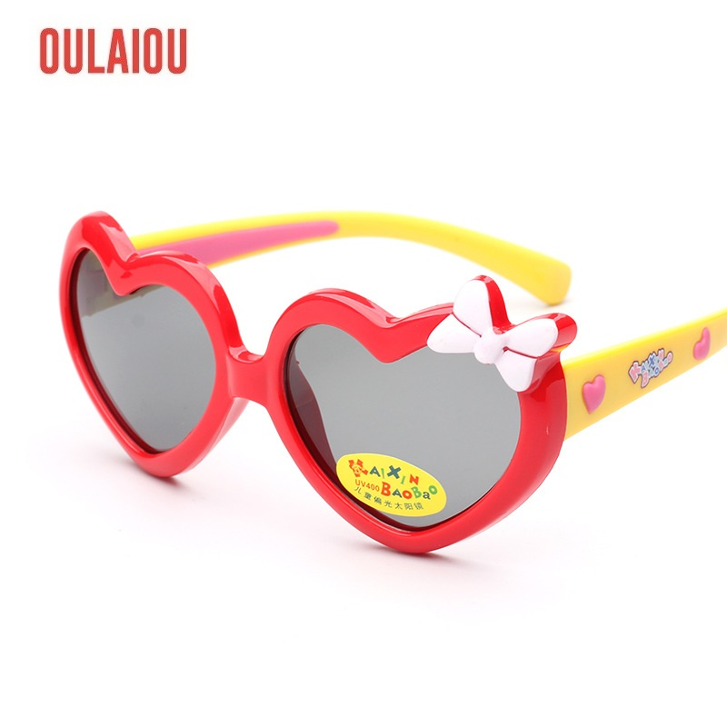 Kids Sunglasses Baby Children Love Cartoon Bow Brand Designer Sun Glasses UV400 Outdoor Goggles Wear More Safety 1613