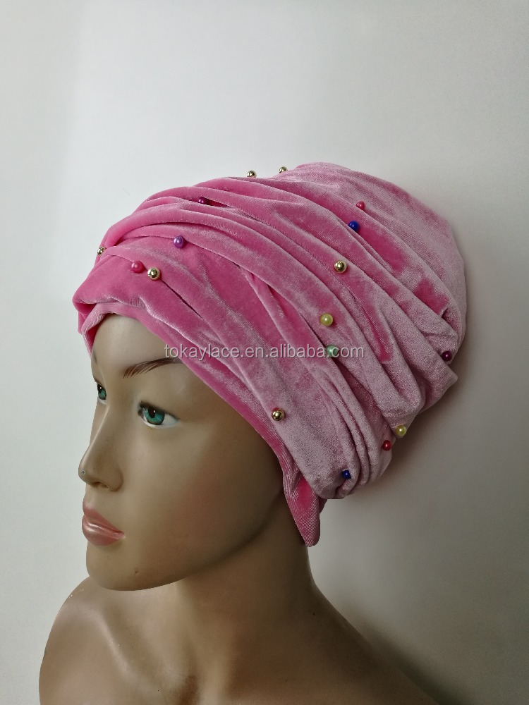 Plain color soft velvet turban head wrap with beads for women