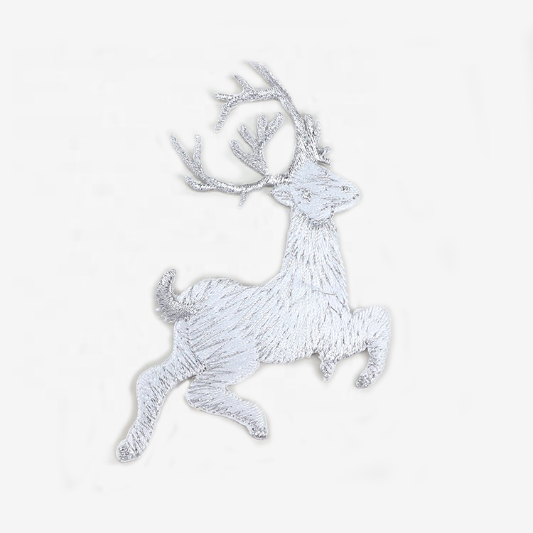 white deer retail sell hot cut animal patch embroidery
