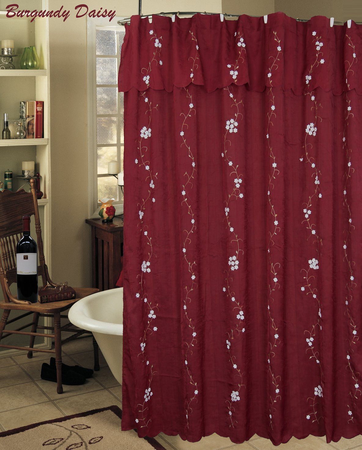 Buy Daisy Embroidered Floral Fabric Shower Curtain Burgundy