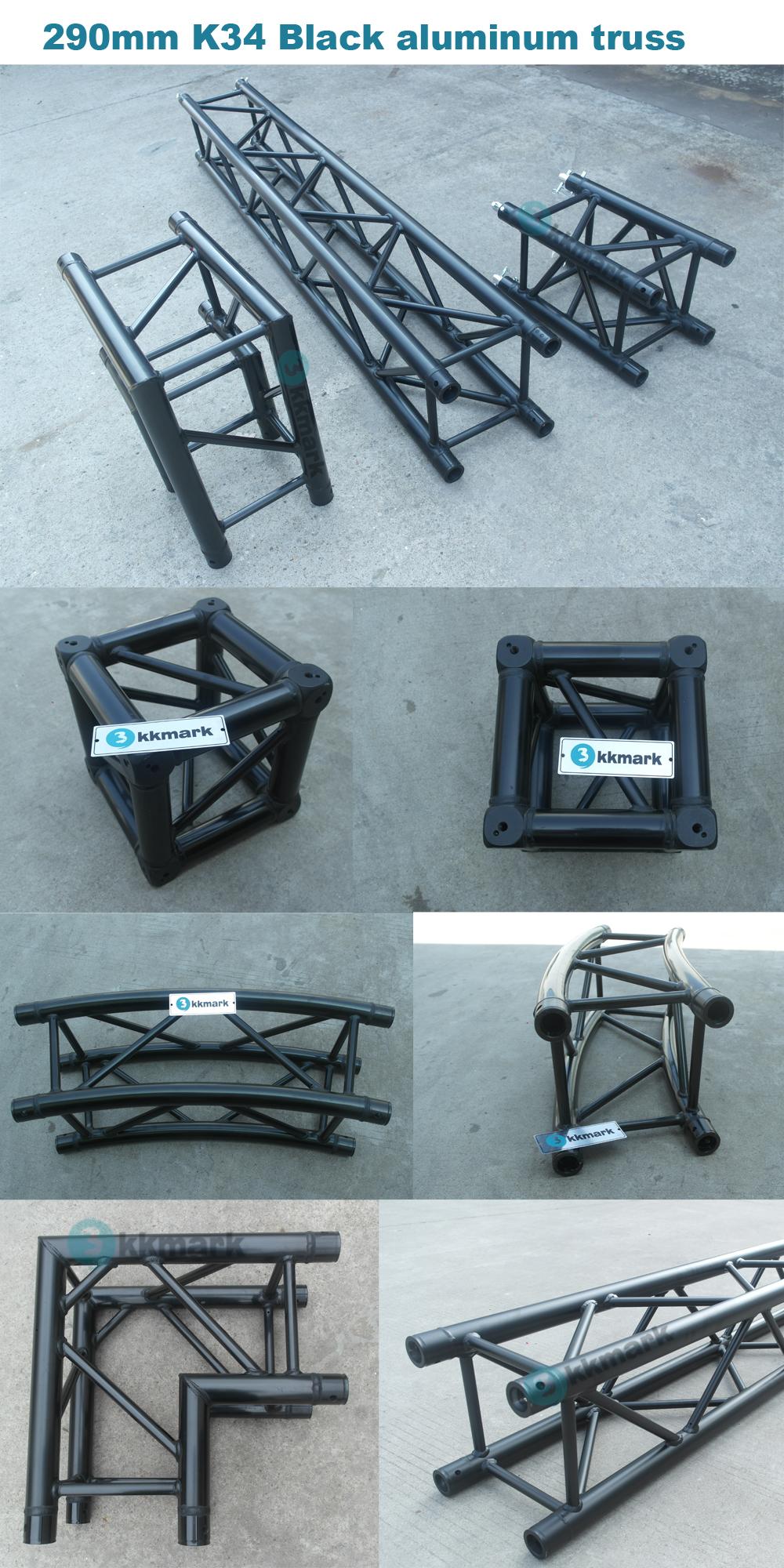 290mm Schwarzes Quadrat Kreis Runde Aluminium Zapfen truss mit power beschichtet