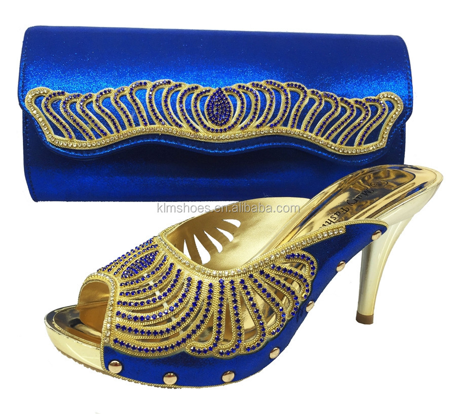 With Party Matching Set Stones Quality Shoes Bags BL20 Set African Blue Bags Sandal With And Shoes High 2016 Wedding For Italian gB0wTT