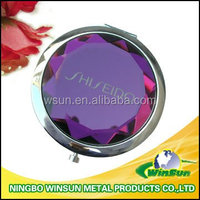Big crystal cosmetic mirror with round shape for gift