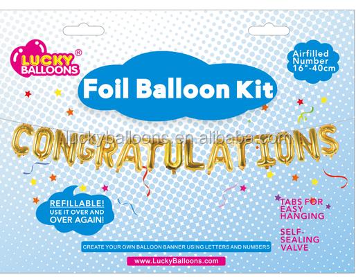 air filled foil letter balloon banner kit letter mylar balloons for