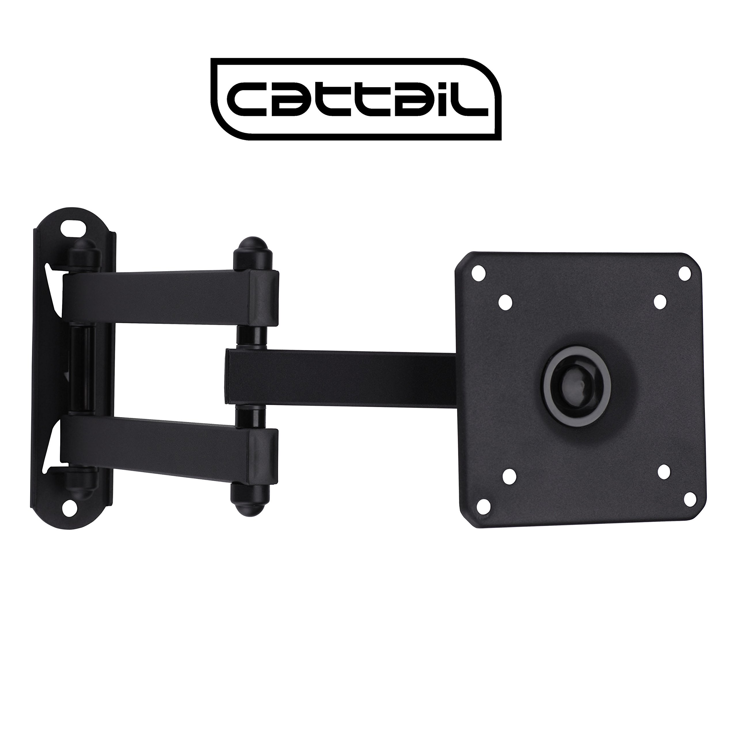 "Cattail TV LCD Monitor Wall Mount Bracket With Full Motion Swing Out Tilt for Most 13"" 15"" 17"" 19"" 22"" 23"" 24"" 25"" 26"" 27"" LED LCD OLED Plasma Flat Screen Monitor up To 44 lbs VESA 100x100mm"