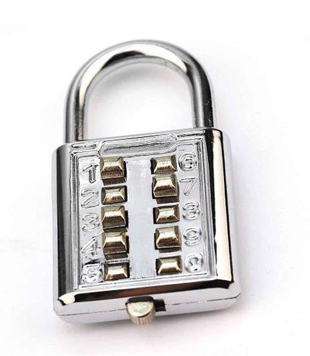 Zeng 10 Digit Push Button Combination Padlock Chrome Plated Anti-Theft Digit Push Password Lock Locker Drawer Cabinet Door Combination Padlocks