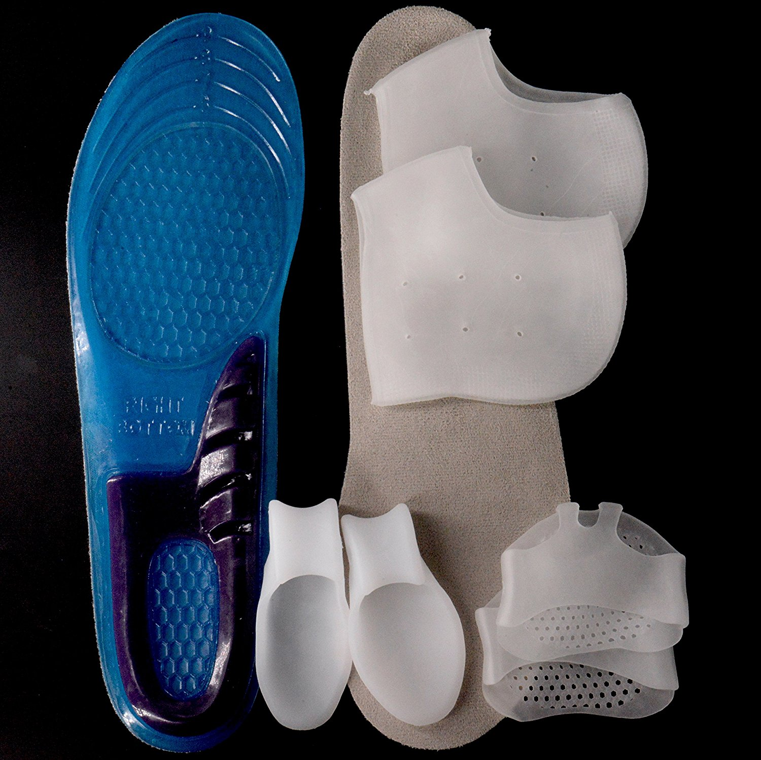 Men's Work Boot & Shoe Insert [Medium] (1 Pair) + Toe corrector (1 Pair) + Forefoot Pad (1 Pair) + Silicone Heel Cover (1 Pair) - (Men's Sizes 6 to 8) - Cut to fit.
