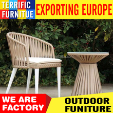 Rope Garden Furniture Wood Table Top and chair Outdoor Patio Dining Set